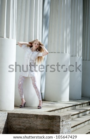 Glamour portrait of young beautiful woman
