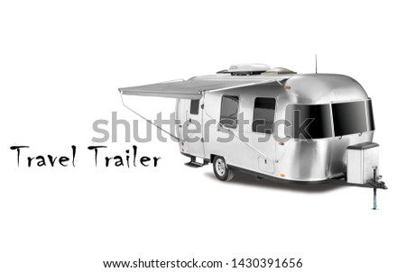 Glamping Travel Trailer Isolated on White Background. Side View of Stainless Steel Motorhome. Modern Caravan Car. Camping and Traveling Towed Recreational Vehicle. 3D Rendering. Holiday Trip #1430391656