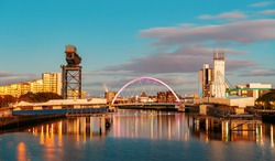 Glasgow city waterfront view at dusk in Scotland, United Kingdom