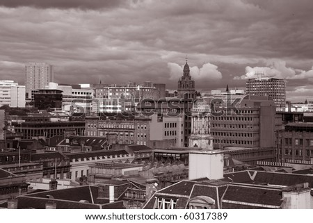 Glasgow Cityscape in Sepia Black and White Tone