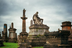 Glasgow Necropolis Victorian cemetery closeup view in Scotland, United Kingdom