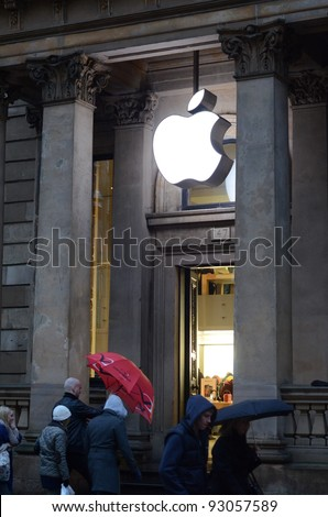 GLASGOW, SCOTLAND - DECEMBER 30: the Apple store on December 30, 2011 in Glasgow, Scotland. Apple is the world's most valuable company by market capitalisation.