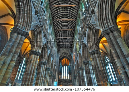 GLASGOW, SCOTLAND - MAY 7: Stone pillars and vaulting of St Mungo's Cathedral on May 7, 2012 in Glasgow