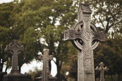 GLASNEVIN CEMETERY, Old graveyard with Celtic cross gravestones , Celtic cross