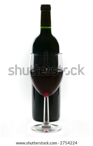 Glass and bottle of red wine, high key, isolated on white. High key.