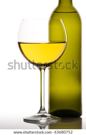 Glass and bottle of white wine on white background.