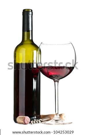 glass and bottle of wine isolated on a white background