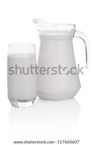 Glass and jug of milk isolated on white background. File contains a path to cut.