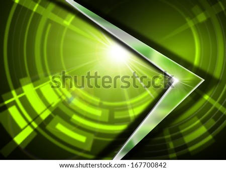 Glass and Metal - Green Abstract Background / Abstract background in green glass with geometric shapes and metal arrow with reflections