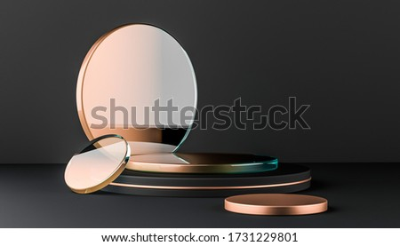 Glass and metallic round platform elements on black background. Simply trendy banner for product design show. Abstract minimal mock up. 3d render illustration.