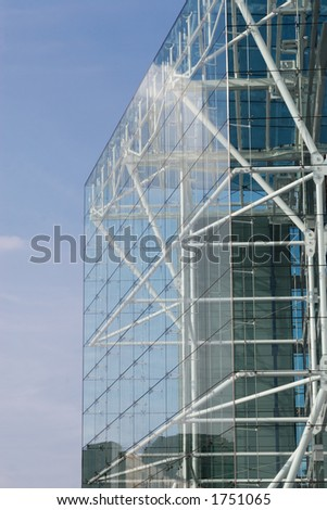 Glass and pipe office building exterior