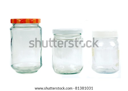 glass and plastic containers isolated on white background