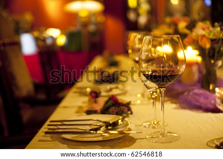 glass and tableware on the table
