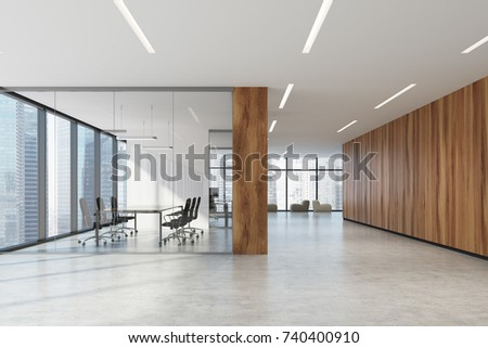 Glass and wooden conference room interior with a concrete floor, a long table with black chairs near it and soft armchairs in the background. 3d rendering mock up