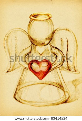 Glass Angel with a red heart in hand, pencil drawing on yellow paper