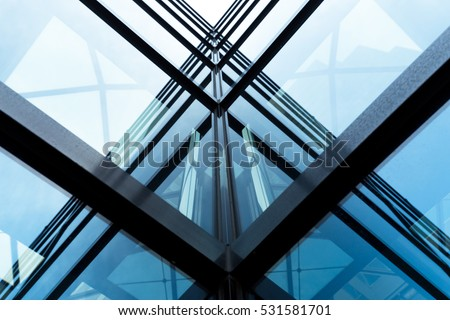 glass architecture of modern building in tokyo #531581701