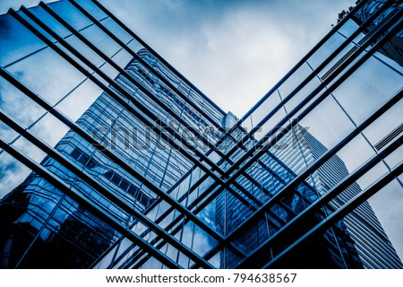 glass architecture of modern building in tokyo #794638567