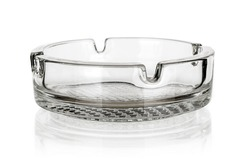 Glass ashtray isolated on white