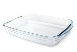 Glass baking tray on white background