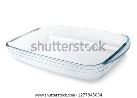 Glass baking tray on white background Foto d'archivio ©