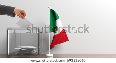 Shutterstock Glass ballot box and a small Mexico flag. 3d illustration