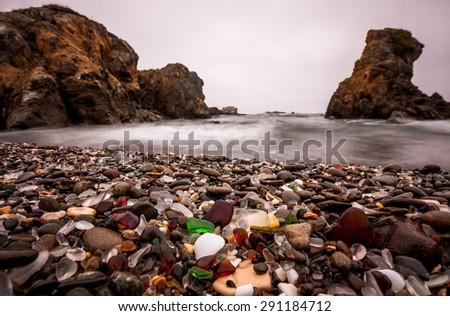 Glass Beach in Fort Bragg, Sonoma Coast in California.
