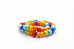 Glass Beads Bracelet Rainbow on White Background, Isolated Beads on White Background, Glass Beads Bracelet, Jewelry making, Jewellery Design, Handmade Jewelry, Handmade Beads Bracelet