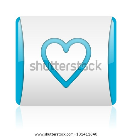 glass blue and white square web glossy icon