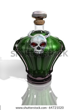 Glass bottle containing a deadly green poison