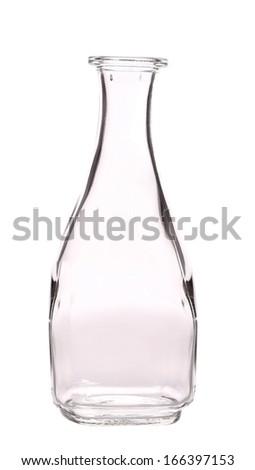 Glass bottle for oil or vinegar. Isolated on a white background.