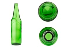 glass bottle green isolated on white background.