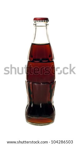 glass bottle of cola soda isolated on a white background #104286503