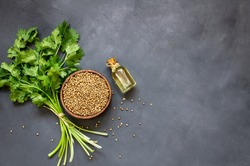Glass bottle of coriander essential oil with coriander powder and fresh cilantro leaves on rustic table, aromatherapy massage oil concept ( coriandrum sativum )