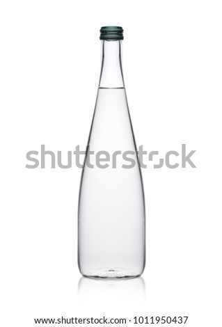 Glass bottle of healthy clear still water on white background with reflection
