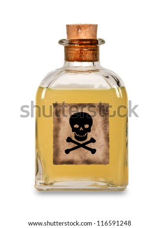 Glass bottle of poison on a white background