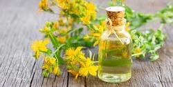 Glass bottle of st. John's wort essential oil with flowers, alternative medicine