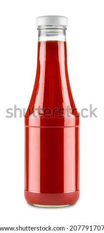 glass bottle of tomato ketchup