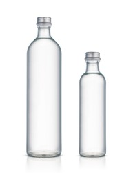 Glass bottle of water isolated on a white background