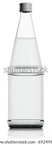 Glass bottle of water. Isolated on white background. 3d