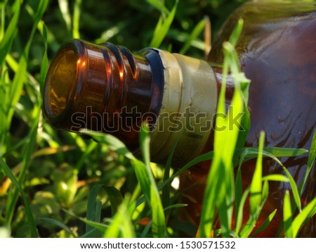 Glass bottle thrown on the grass. #1530571532