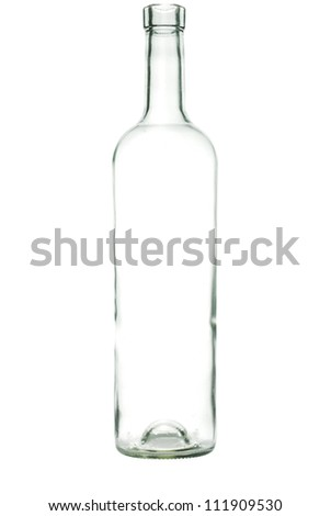 Glass bottle with a white liquid. The materials can be recycled