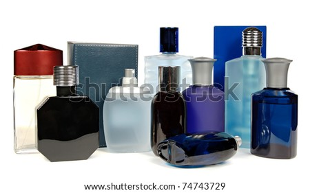 glass bottles of perfume isolated on a white background