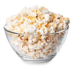 Glass bowl full of popcorn isolated on white background