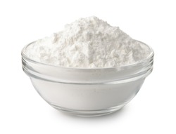 Glass bowl of corn starch isolated on white