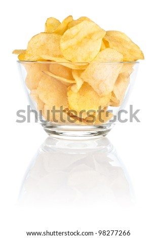 Glass bowl of with Pile potato chips on a white background