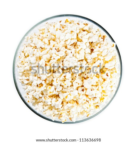 Glass bowl with popcorn on white background #113636698
