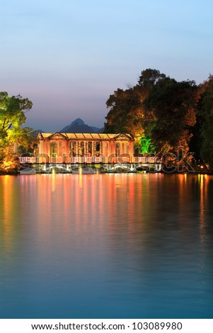 glass bridge on the banyan lake at evening in guilin
