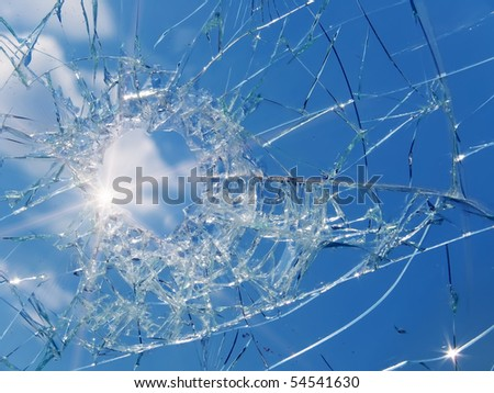 Glass  broken  automobile  sun