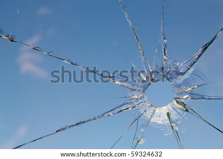 Glass  broken  cracks  splinters