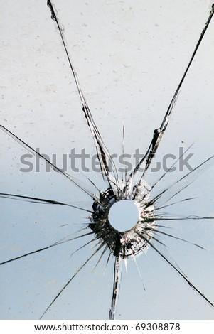 Glass  broken  shot  sky
